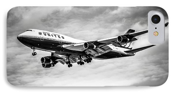 United Airlines Airplane In Black And White Phone Case by Paul Velgos