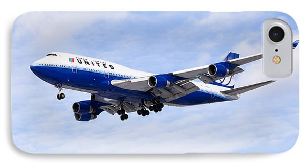 United Airlines Boeing 747 Airplane Flying IPhone Case by Paul Velgos