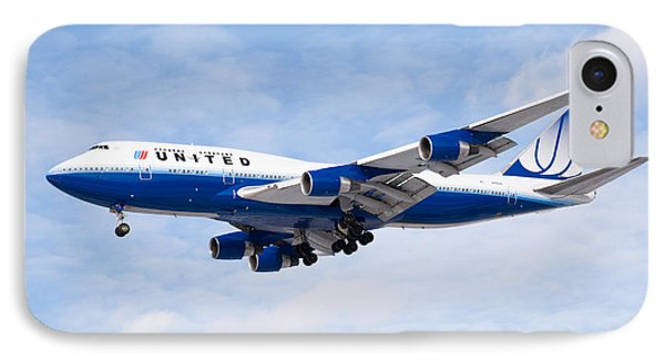 United Airlines Boeing 747 Airplane Landing IPhone Case by Paul Velgos