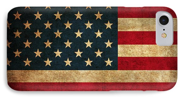 United States American Usa Flag Vintage Distressed Finish On Worn Canvas IPhone Case by Design Turnpike