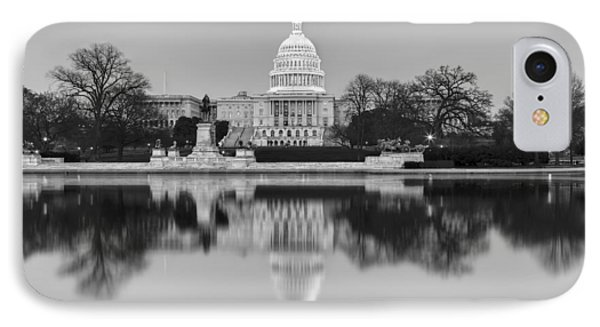 United States Capitol Building Bw IPhone Case by Susan Candelario