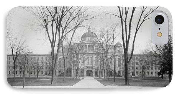 University Hall, University Of Michigan, C.1905 Bw Photo IPhone 7 Case by Detroit Publishing Co.