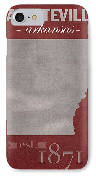 University Of Arkansas Razorbacks Fayetteville College Town State Map Poster Series No 013 IPhone 7 Case by Design Turnpike