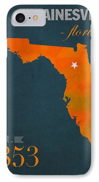 University Of Florida Gators Gainesville College Town Florida State Map Poster Series No 003 IPhone 7 Case by Design Turnpike