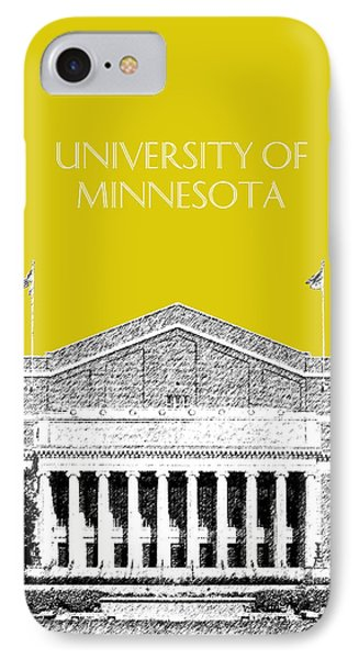 University Of Minnesota 2 - Northrop Auditorium - Mustard Yellow IPhone Case by DB Artist