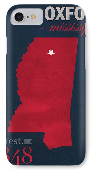 University Of Mississippi Ole Miss Rebels Oxford College Town State Map Poster Series No 067 IPhone Case by Design Turnpike