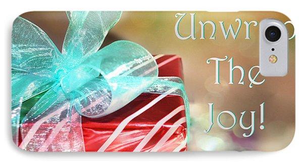 Unwrap The Joy Xmas Card IPhone Case by Paulette B Wright