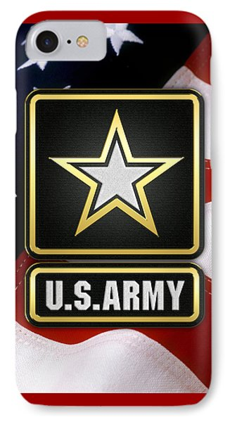 U. S. Army Logo Over American Flag. IPhone Case by Serge Averbukh