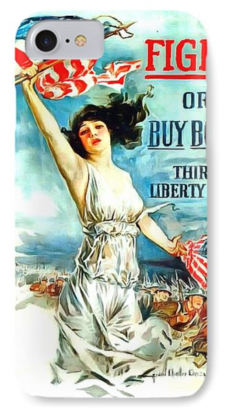 Fight Or Buy Bonds IPhone Case by US Army WW I Recruiting Poster