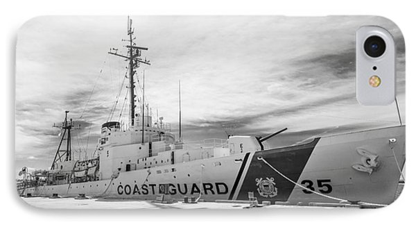 Us Coast Guard Cutter Ingham Whec-35 - Key West - Florida - Black And White IPhone Case by Ian Monk