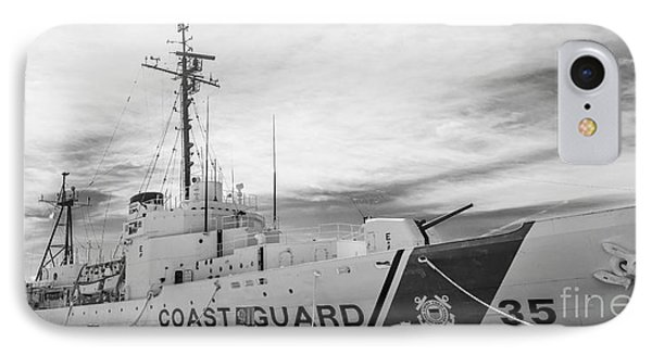 Us Coast Guard Cutter Ingham Whec-35 - Key West - Florida - Panoramic - Black And White IPhone Case by Ian Monk