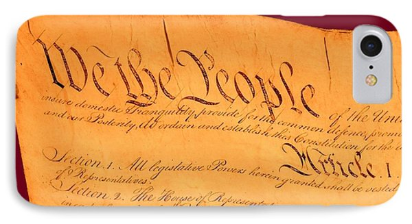 Us Constitution Closeup Violet Red Bacjground Phone Case by L Brown