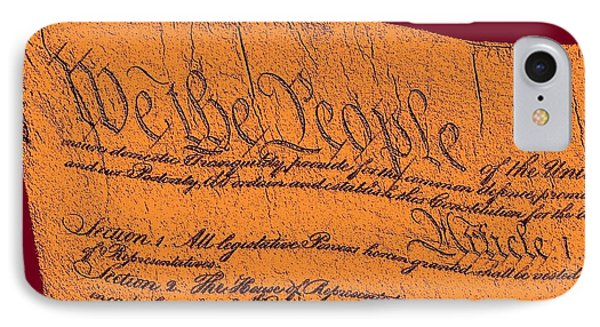 Us Constitution Closeup Sculpture Violet Red Background Phone Case by L Brown