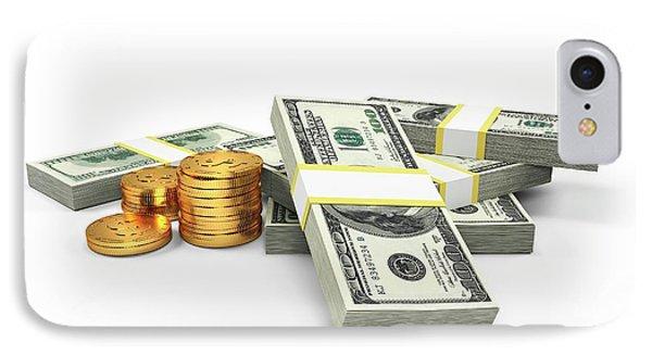 Us Dollars And Golden Coins IPhone Case by Sebastian Kaulitzki