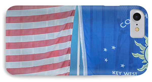 Us Flag And Conch Republic Flag Key West  - Panoramic - Hdr Style IPhone Case by Ian Monk