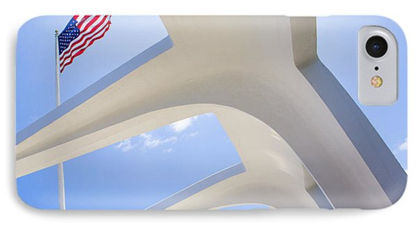U.s.  Flag At The Uss Arizona Memorial IPhone Case by Diane Diederich