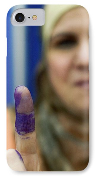 Us-resident Iraqi Votes In Iraq Election IPhone Case by Jim West