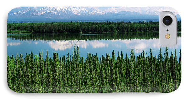 Usa, Alaska, Willow Lake And Mt IPhone Case by Adam Jones