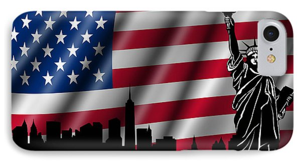 Usa American Flag With Statue Of Liberty Skyline Silhouette Phone Case by David Gn