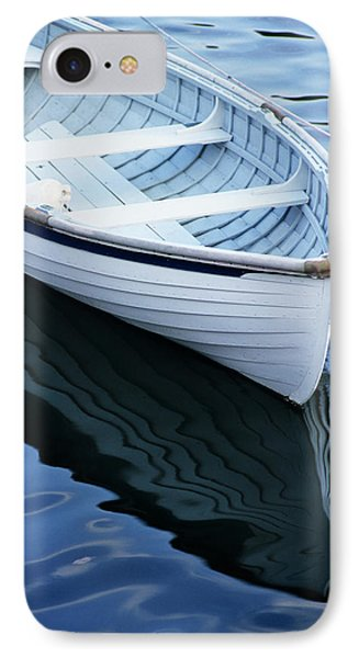 Usa, Maine, Rockport, Dinghy Moored IPhone Case by Ann Collins