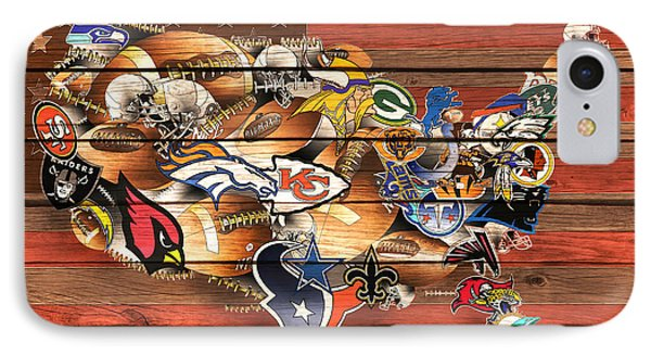Usa Nfl Map Collage 10 IPhone Case by Bekim Art