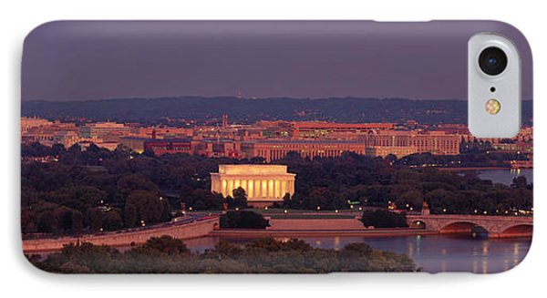 Usa, Washington Dc, Aerial, Night IPhone 7 Case by Panoramic Images