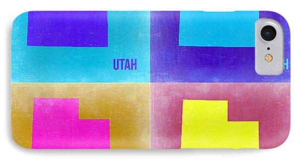 Utah Pop Art Map 2 Phone Case by Naxart Studio