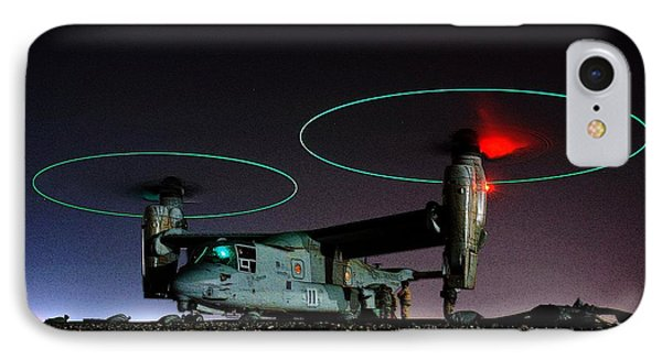 V 22 Osprey Refueling Before Night Mission Central Iraq II IPhone Case by US Navy - L Brown