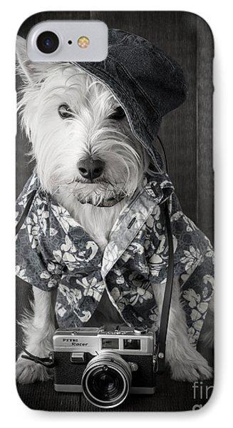 Vacation Dog With Camera And Hawaiian Shirt Phone Case by Edward Fielding