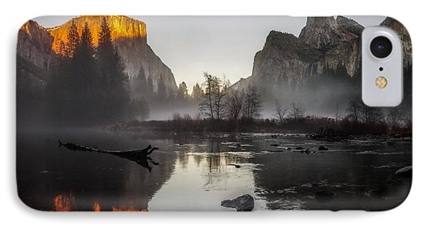 Valley View Yosemite National Park Winterscape Sunset IPhone Case by Scott McGuire