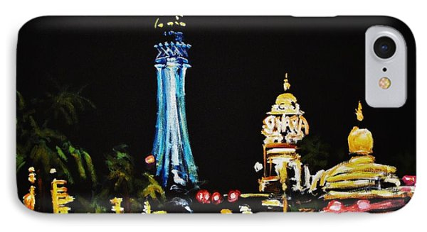 Vegas At Night Phone Case by John Malone