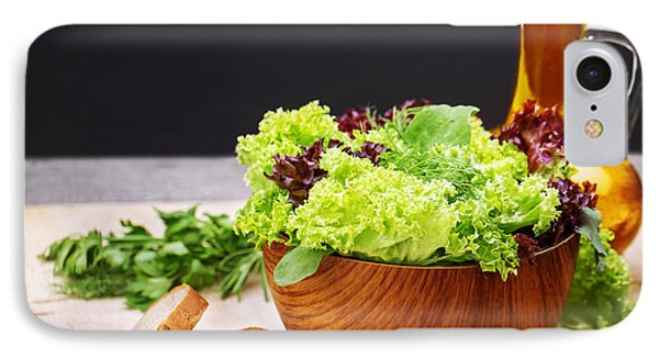 Vegetarian Salad And Olive Oil Phone Case by Anna Om