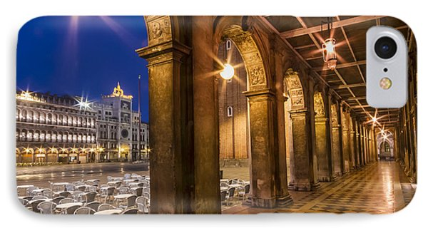 Venice St Mark's Square During Blue Hour IPhone Case by Melanie Viola
