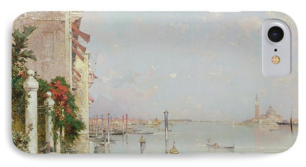 Venice View From The Zattere With San Giorgio Maggiore In The Distance IPhone Case by Franz Richard Unterberger