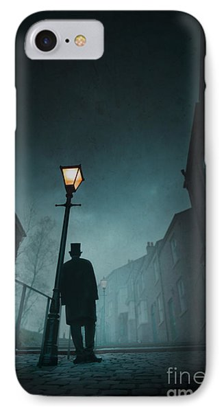 Victorian Man With Top Hat Leaning On A Street Light Phone Case by Lee Avison
