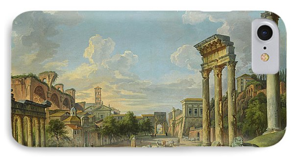 View Of Campo Vaccino In Rome IPhone Case by Giovanni Paolo Panini