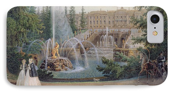 View Of The Marly Cascade From The Lower Garden Of The Peterhof Palace IPhone Case by Vasili Semenovich Sadovnikov