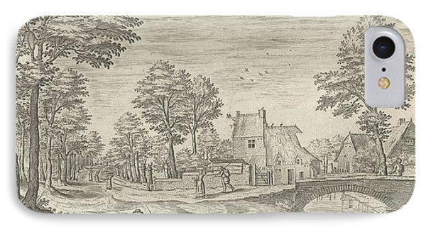 View Of The Road To Brussels, Belgium, Print Maker Hans IPhone Case by Hans Collaert I And Hans Bol And Jacob Grimmer