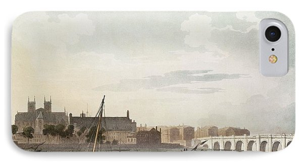 View Of Westminster And The Bridge Wc On Paper IPhone Case by English School