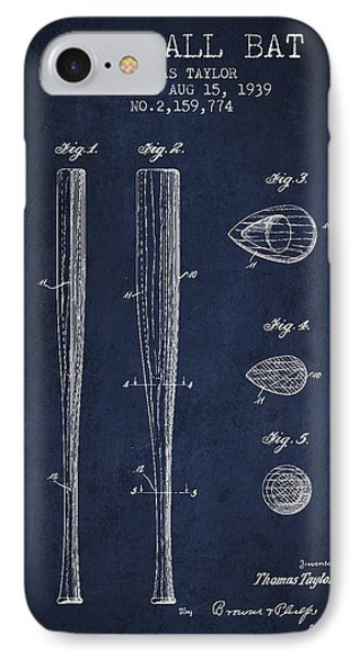 Vintage Baseball Bat Patent From 1939 IPhone 7 Case by Aged Pixel