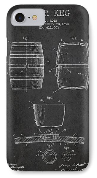 Vintage Beer Keg Patent Drawing From 1898 - Dark IPhone Case by Aged Pixel