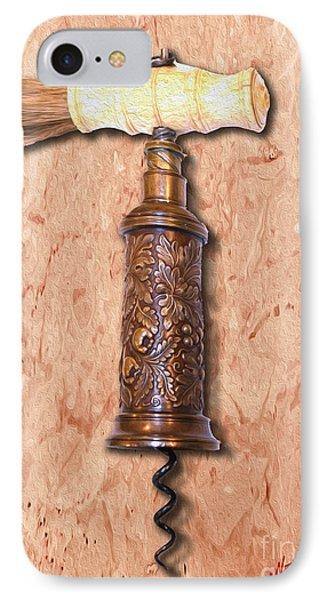 Vintage Corkscrew Painting 6 IPhone Case by Jon Neidert