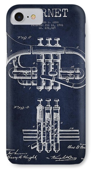 Cornet Patent Drawing From 1901 - Blue IPhone Case by Aged Pixel