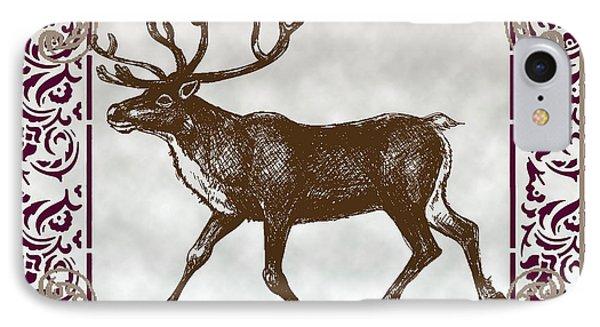 Vintage Deer Artowrk IPhone Case by Art World