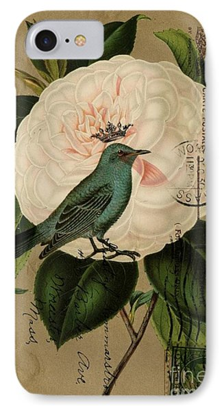 Vintage French Botanical Art Pink Rose Teal Bird Phone Case by Cranberry Sky