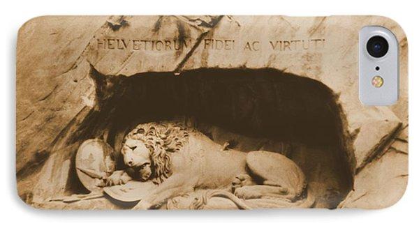 Vintage Lion Of Lucerne Phone Case by Dan Sproul