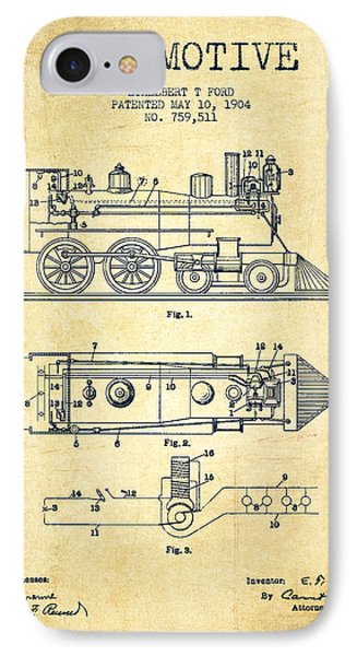 Vintage Locomotive Patent From 1904 - Vintage IPhone 7 Case by Aged Pixel