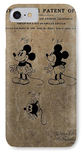 Vintage Mickey Mouse Patent IPhone 7 Case by Dan Sproul