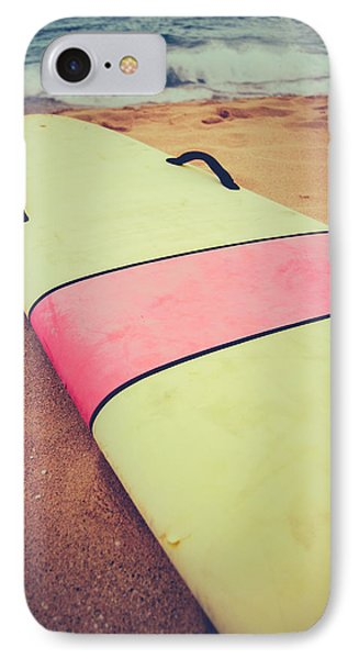 Vintage Surf Board In Hawaii IPhone Case by Mr Doomits