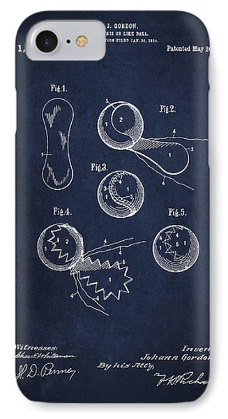 Vintage Tennis Ball Patent Drawing From 1914 IPhone Case by Aged Pixel